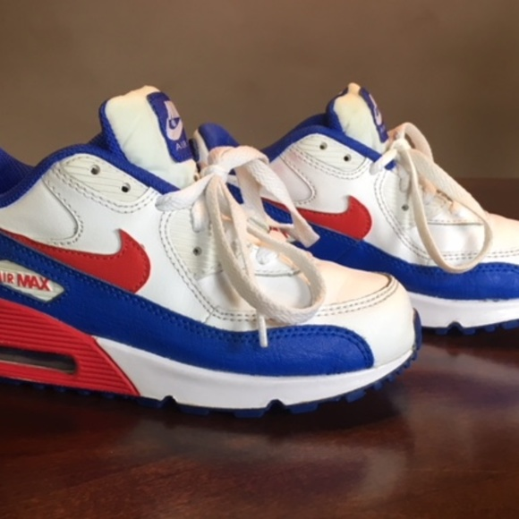 d268a11f Nike Air Max 90 Kids Shoes Size 13 White Red Blue
